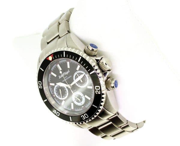 Zeitflügel Chrono Luxusuhr/ Exklusiv bei Juwelier Master mit schwarzer Lünette